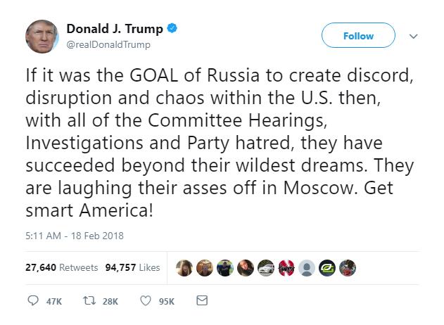 Trump tweet - Russia
