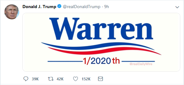 trump tweet warren